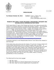 Press Release - Hampshire County Probate and Family Court
