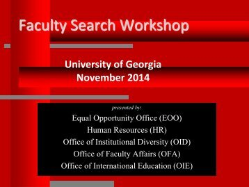 Faculty Search Workshop - Office of the Senior VP for Academic ...