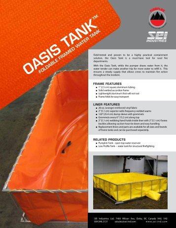 Fireflex Oasis Tank Brochure - SEI Industries Ltd.