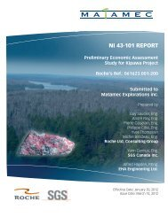 Preliminary Economic Assessment Study for Kipawa Project