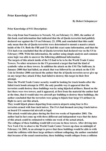 Prior Knowledge of 9/11 - PDF eBooks Free Download