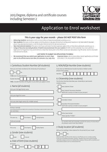 Application to Enrol worksheet (PDF 250KB) - University of Canterbury