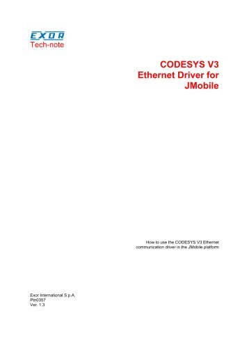 CODESYS V3 Ethernet Driver for JMobile