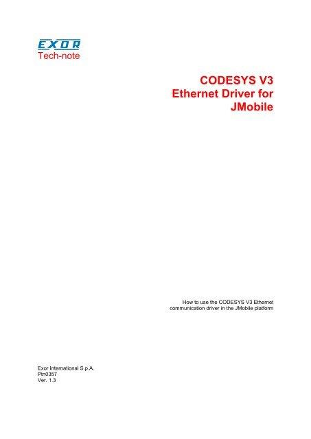 CODESYS V3 Ethernet Driver for JMobile