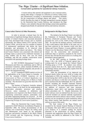 international charter for the conservation and [1] the icomos 'venice charter for the conservation and restoration of monuments and sites', 1964 [2] for convenience, 'sites' will be taken to mean landscapes, complexes, buildings, structures and machines unless these terms are used in a more specific way.