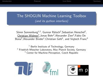 SHOGUN - A Large Scale Machine Learning Toolbox