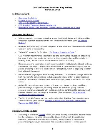 Summary Key Points FluView Activity Update