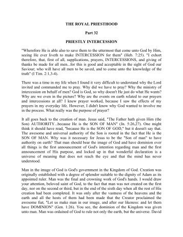 THE ROYAL PRIESTHOOD Part 32 PRIESTLY INTERCESSION ...