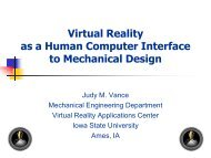 Virtual Reality as a Human Computer Interface to Mechanical Design