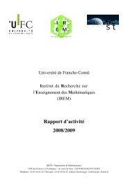 Rapport d'activité 2008/2009 - Université de Franche-Comté