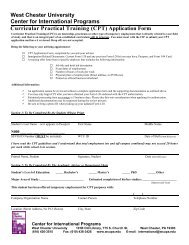 (CPT) Application Form - West Chester University