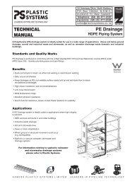 TECHNICAL MANUAL PE Drainage - Plastic Systems