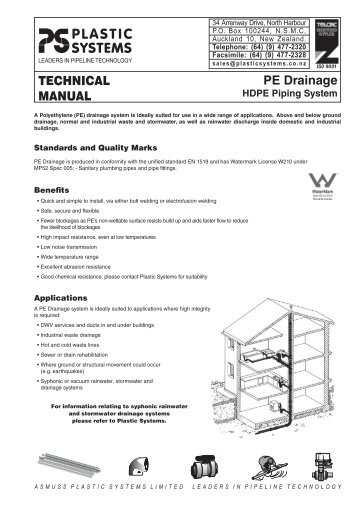 TECHNICAL MANUAL PE Drainage - Plastic Systems