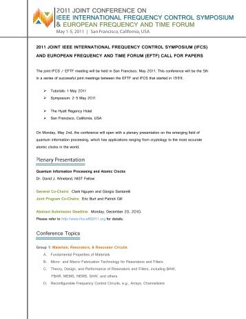 call for papers - 2011 Joint Conference of the IEEE International ...