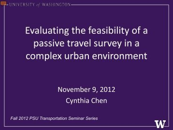 Evaluating the feasibility of a passive travel survey in a complex ...