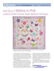 Web Bonus: I Believe in Pink - McCalls Quilting