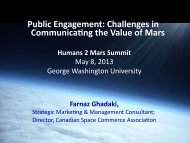 Public Engagement: Challenges in CommunicaNng the Value of Mars