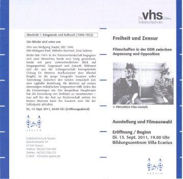 l Abschnitt 1: Kriegsende und Aufbruch (1946-1952) - VHS Speyer