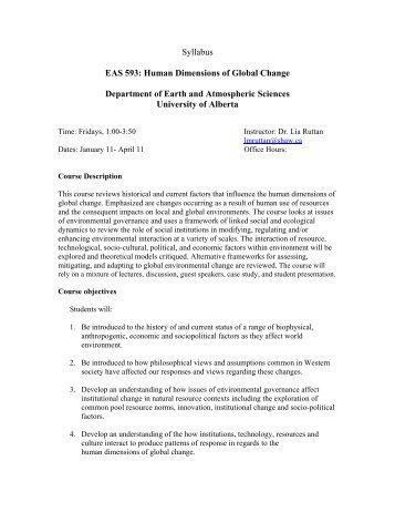 Syllabus EAS 593: Human Dimensions of Global Change ...