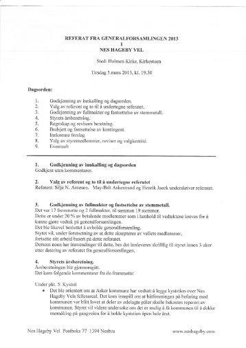 Referat årsmøte 2013 - Nes Hageby Vel og Båtforening