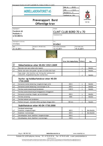Prøverapport Bord Offentlige krav CLINT CLUB BORD 70 ... - Foraform