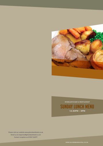 SUNDAY LUNCH MENU - The Gilvenbank Hotel