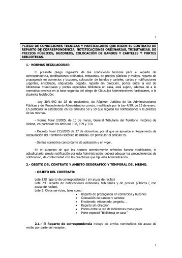 Pliego de condiciones técnicas - Ayuntamiento de Santurtzi