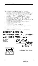 LE011XF (LE0521D) Micro Back EMF DCC Decoder ... - Lenz USA