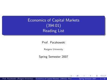Economics of Capital Markets (394:01) Reading List