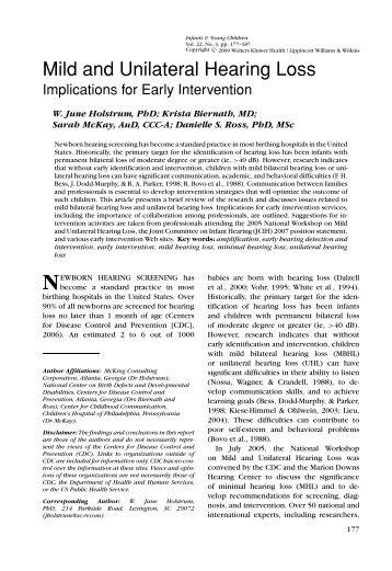 Mild and Unilateral Hearing Loss - Lippincott Williams & Wilkins