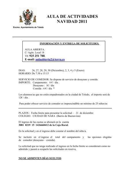 AULA DE ACTIVIDADES NAVIDAD 2011 - Ayuntamiento de Toledo