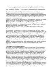 Mathematik Anforderungsprofil 1. Jahrgangsstufe - Kubiss.de