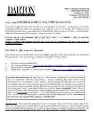 Dependent Verification Worksheet - Darton College
