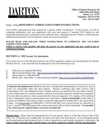 Dependent Verification Worksheet - Darton College