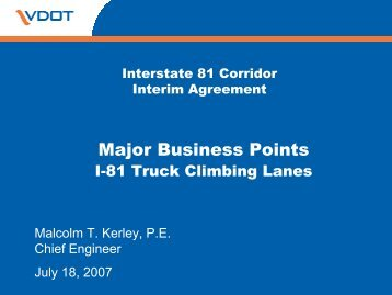 Major business points: Interstate 81 truck climbing lanes
