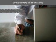 Come trovare ciò che ci serve - Luca De Fiore - Biblioteca Medica