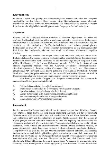 Enzymkinetik - TCI @ Uni-Hannover.de