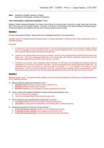 Vestibular 2007 – UNIFEI – Prova 3 – Língua Inglesa - 21/01/2007