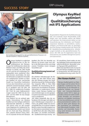 Olympus KeyMed optimiert Qualitätssicherung mit IFS Applications