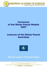 Lectures Blaise Pascal medallists - European Academy of Sciences