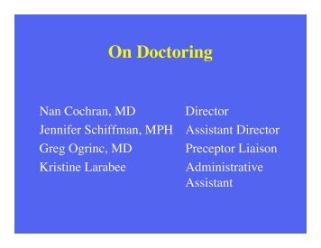 On Doctoring - Dartmouth Medical School