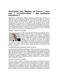 Association des Régions de France : Vers une « co-construction ...