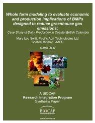 Whole farm modeling to evaluate economic and ... - BIOCAP Canada