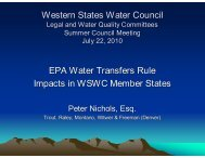EPA Wter Transfers Rule/Impacts in WSWC Member States