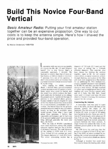 Build This Novice Four Band Vertical - ARRL