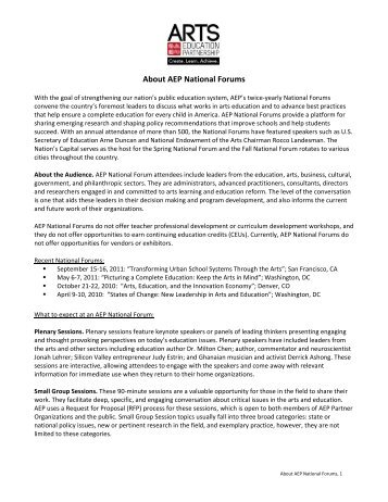 About AEP National Forums - Arts Education Partnership
