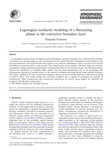 Lagrangian stochastic modeling of a fluctuating plume in the ... - CAMP