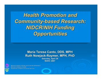 Health Promotion and Community-based Research: NIDCR/NIH ...