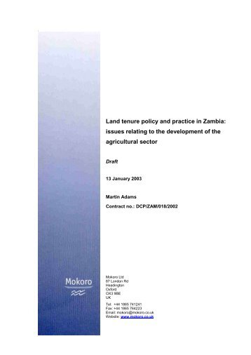 Land tenure policy and practice in Zambia: Issues for the ... - Mokoro