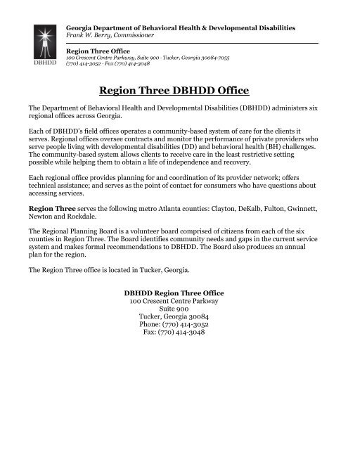Region Three DBHDD Office - Department of Behavioral Health and ...